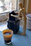 早晨咖啡和摄影摘要 库存照片