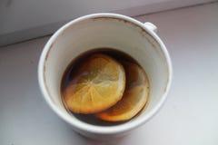 早晨咖啡用柠檬 免版税库存照片