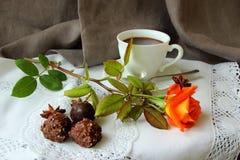 早晨咖啡,玫瑰色和糖果 库存图片