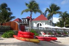 早晨在伊甸园圣的Barth,法属西印度群岛岩石旅馆 图库摄影