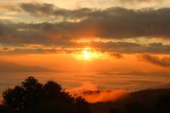 早晨在小山的薄雾盖子在热带森林的日出以后在泰国 免版税图库摄影