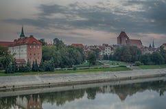 早晨在托伦,波兰老镇  免版税库存图片