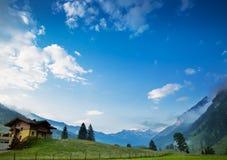 早晨在阿尔卑斯,奥地利, Rauris 苹果覆盖花横向草甸本质星期日结构树 库存照片