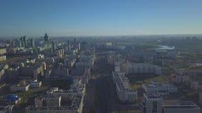 早晨在阿斯塔纳 哈萨克斯坦的首都的管理区域 股票视频