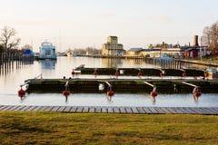 早晨在Vagga小游艇船坞 库存照片