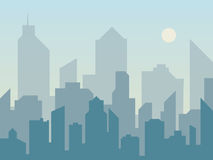 早晨城市在平的样式的地平线剪影 横向现代都市 都市风景背景 库存图片