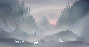 早晨太阳升起,并且sika鹿在森林在山和水域中愉快地使用 向量例证