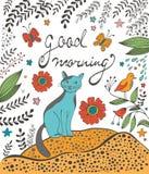 早晨好与逗人喜爱的猫的概念卡片 库存照片