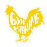 早晨好与雄鸡剪影的传染媒介例证  字法样式 向量 免版税图库摄影