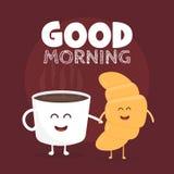 早晨好例证 滑稽的逗人喜爱的新月形面包和咖啡画与微笑、眼睛和手 免版税库存图片