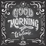 早晨好咖啡馆黑板 库存图片
