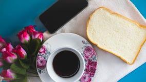 早晨对您喜爱的咖啡是完善的, 库存照片
