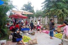 早晨市场在琅勃拉邦,老挝 免版税图库摄影