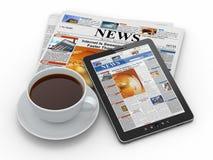 早晨新闻。 压片个人计算机、报纸和咖啡 免版税库存照片