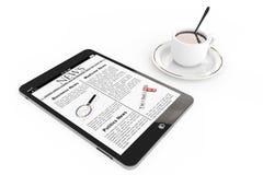 早晨新闻概念。现代片剂个人计算机和咖啡 图库摄影