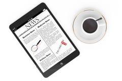 早晨新闻概念。现代片剂个人计算机和咖啡 库存照片