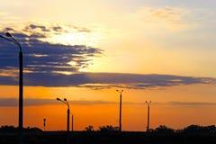 早晨日出,在桥梁的日出 免版税库存图片