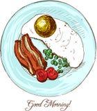 早晨早餐用鸡蛋、烟肉和菜 库存照片