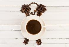 早晨时钟和咖啡概念 库存照片