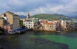 早晨柔和的淡色彩,圣Florent,可西嘉岛 图库摄影