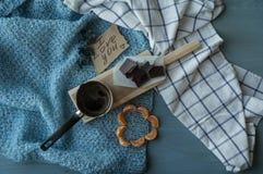 早晨浪漫爱的咖啡和声明 免版税库存图片