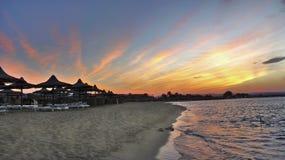 早晨海滩风景 免版税库存图片