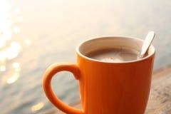 早晨热的咖啡 库存照片