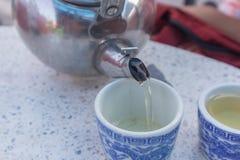 早晨茶在泰国南部的粤式点心餐馆 免版税库存照片