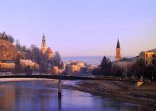 早晨萨尔茨堡冬天 库存照片