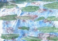 早晨蓝色抽象水彩背景 库存照片