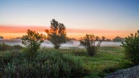 早晨薄雾在黎明,在村庄附近的日出前 图库摄影