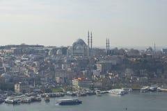 早晨薄雾的土耳其伊斯坦布尔 免版税库存图片
