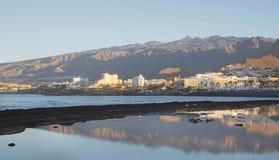早晨观点的科斯塔阿德赫,美洲日报,特内里费岛,加那利群岛,西班牙 免版税库存照片