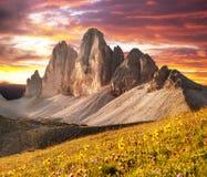 早晨观点的Drei Zinnen或Tre Cime di Lavaredo 免版税库存照片