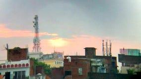 早晨视图在城市 免版税库存照片