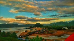 早晨视图在我的村庄 库存照片