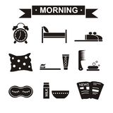 早晨集合黑色 免版税图库摄影