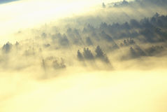 早晨雾和日出鸟瞰图在秋天在Stowe附近, VT在风景路线100 库存照片