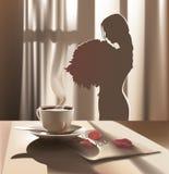 早晨,咖啡,爱 免版税库存照片