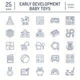 早期的发展婴孩戏弄平的线象 演奏席子,排序块,繁忙的板,支架,玩具汽车,孩子铺铁路,迷宫 向量例证