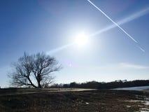 早期的春天风景在俄罗斯,在熔化的雪以后 图库摄影