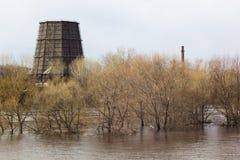 早期的春天风景在俄罗斯,在熔化的雪以后 免版税库存图片