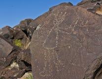 早期的SW美国美国本地人刻在岩石上的文字  库存照片