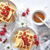 早餐、传统比利时华夫饼干用新鲜水果和细磨刀石 免版税库存图片