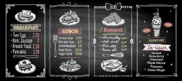 早餐、午餐、点心和冰淇凌黑板菜单名单设计设置了,手拉的图表例证 皇族释放例证