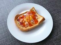 早餐、煎蛋火腿和乳酪 库存图片