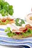 早餐三明治播种的看法用在洗碗布的荷兰芹 库存照片