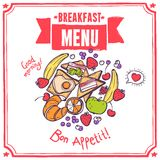 早餐剪影菜单 库存照片
