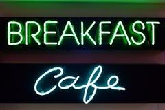早餐和咖啡馆霓虹灯广告 图库摄影