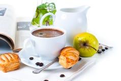 早餐咖啡果子酥皮点心 库存图片